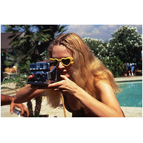 Drew Barrymore 8 inch by 10 inch PHOTOGRAPH from Slide Donnie Darko Charlie's Angels Scream at Pool Wearing Yellow Heart-Shaped Sunglasses kn
