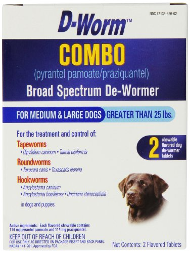 D-worm Dog Chewable - D-Worm 2 Count Combo Broad Spectrum De-Wormer for Dogs, Medium/Large