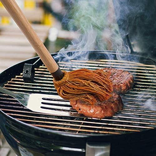Sonline Paquet de 2 Vadrouilles pour Barbecue Sauce Barbecue Professionnelle Vadrouille Large avec Manche en Bois TêTe en Coton Lavable pour la Cuisson du R?Tissage