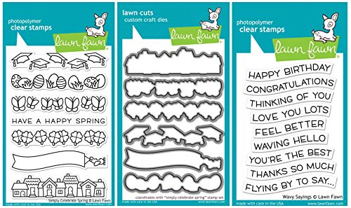 Lawn Fawn - Simply Celebrate Spring Clear Stamp and Die Sets with Wavy Saying Clear Stamps - 3 Items by Lawn Fawn (Image #7)