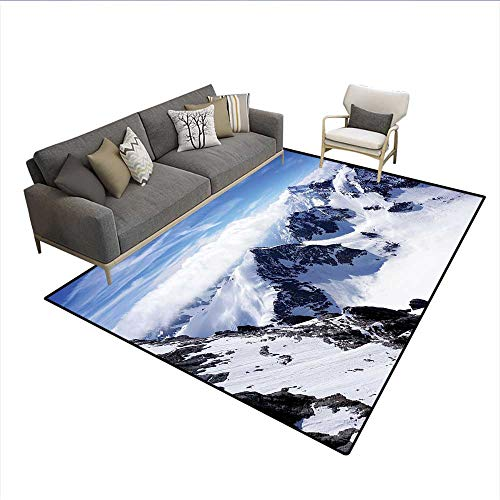 - Carpet,Snowy Mountain Peaks Tops High Lands Northern Scenic Alps Panorama Valley Print,Area Silky Smooth Rugs,White Blue 6'x9'