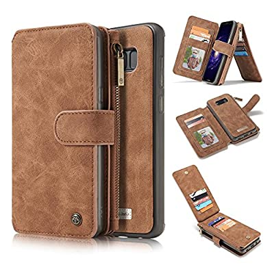 ELECFAN S8 Case Wallet for Men,Magnetic Detachable Leather Smart Protective Stand Cover Slim Fit Retro with Wrist Strap and Card Slots & ID Holder for Samsung Galaxy S8 5.8 inch Phone (Dark Brown)