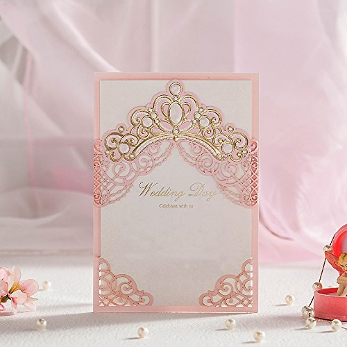 Wishmade Wedding Invitations Cards, Pink, 100 Pieces, CW6072, Customized Printing
