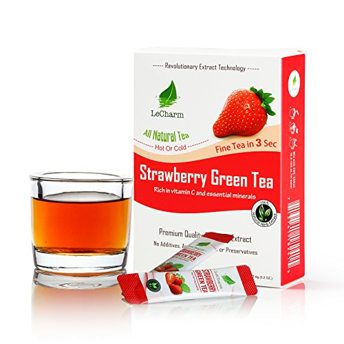 Strawberry Green Instant Tea on the Go LeCharm 100% Natural Tea Extract, Unsweetened Drink Instant Crystallized Tea Powder for Pure Water, Iced Tea and Hot Tea(10 Sachets)