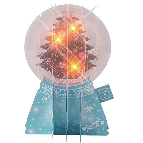 3D Snow Globe With Christmas Tree Lights and Melody Pop Up Greeting Card Snowglobe Christmas Cards