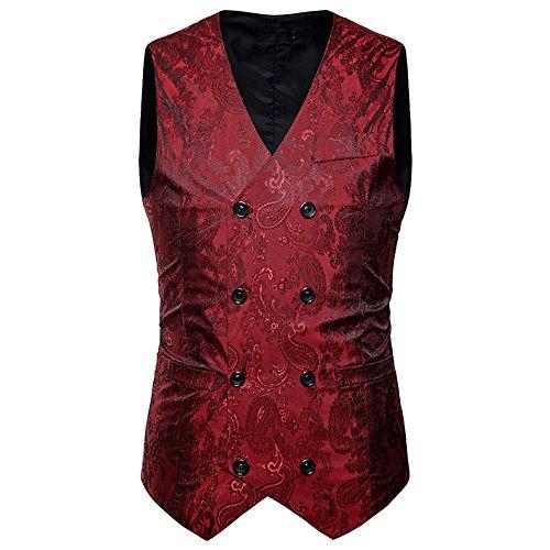 WEEN CHARM Men's Fashion V-Neck Sleeveless Paisley Wedding Tuxedo Vest Slim Fit Jacket Casual Suit Waistcoat Wine Red M Cotton Running Vest