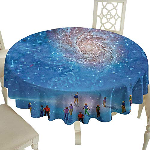 StarsART Thanksgiving Tablecloth Constellation,People Gather to See Mysterious Galactic Cosmic Phenomena Sci-Fi Like Scene,Multicolor D54,Table Cloth Cover Wedding Event Party