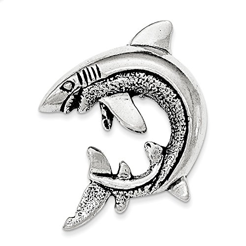 Jewelry Pendants & Charms Slides Sterling Silver Antiqued and Textured Shark Chain Slide Pendant ()