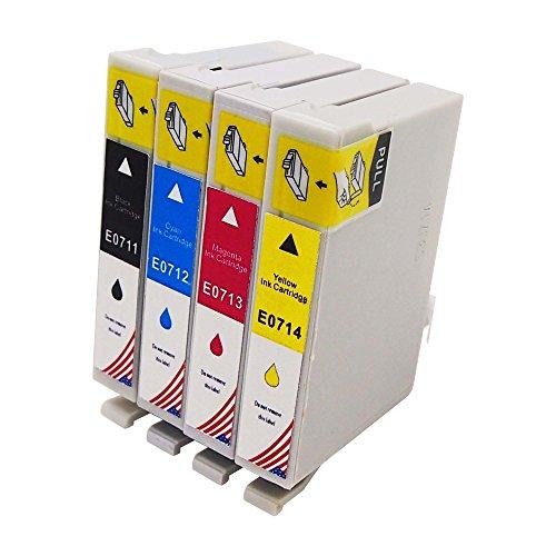 Toner Kingdom 4er Pack (1 Set) Tintenpatronen kompatibel zu Epson T0711 T0712 T0713 T0714 T0715, für Epson Stylus D78 D92 D120 DX4000 DX4050 DX4400 DX4450 DX5000 DX5050 DX6000 DX6050 DX7000F DX7400 DX7450 DX8400 DX8450 DX9400F S20 S21 SX100 SX110 SX105 SX115 SX200 SX205 SX209 SX210 SX215 SX218 SX400 SX405 SX405WiFi SX410 SX415 SX510W SX515W SX600FW B40W BX300F BX310FN BX510 BX600 BX600FW BX610 BX610FW