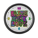 Large Wall Clock Faith Hope Love Neon