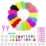 NEFUTRY 9600 Rainbow Color Rubber Loom Bands Mega Refill Pack in 16 Colors,Free 2 Y Shape Looms and 20 Lovely Charms