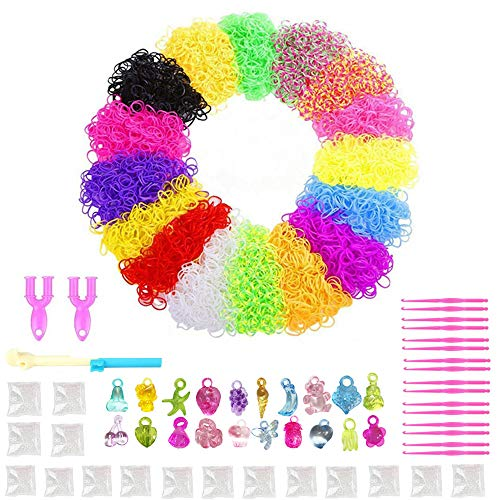 NEFUTRY Rubber Loom Bands Mega Refill 9600 Loom Bracelet Making Kit in 16 Colors, 16 Packs S Clips, 20 Lovely Charms]()