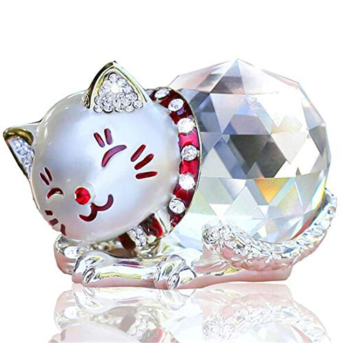 Waltz&F Crystal Silver Fortune Cat Paperweight Fengshui Craft Home Decoration Ornaments Gift Box