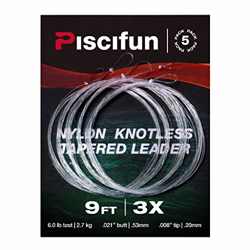 Piscifun Fly Fishing Tapered Leader with Loop-9ft 5 Pack 3X