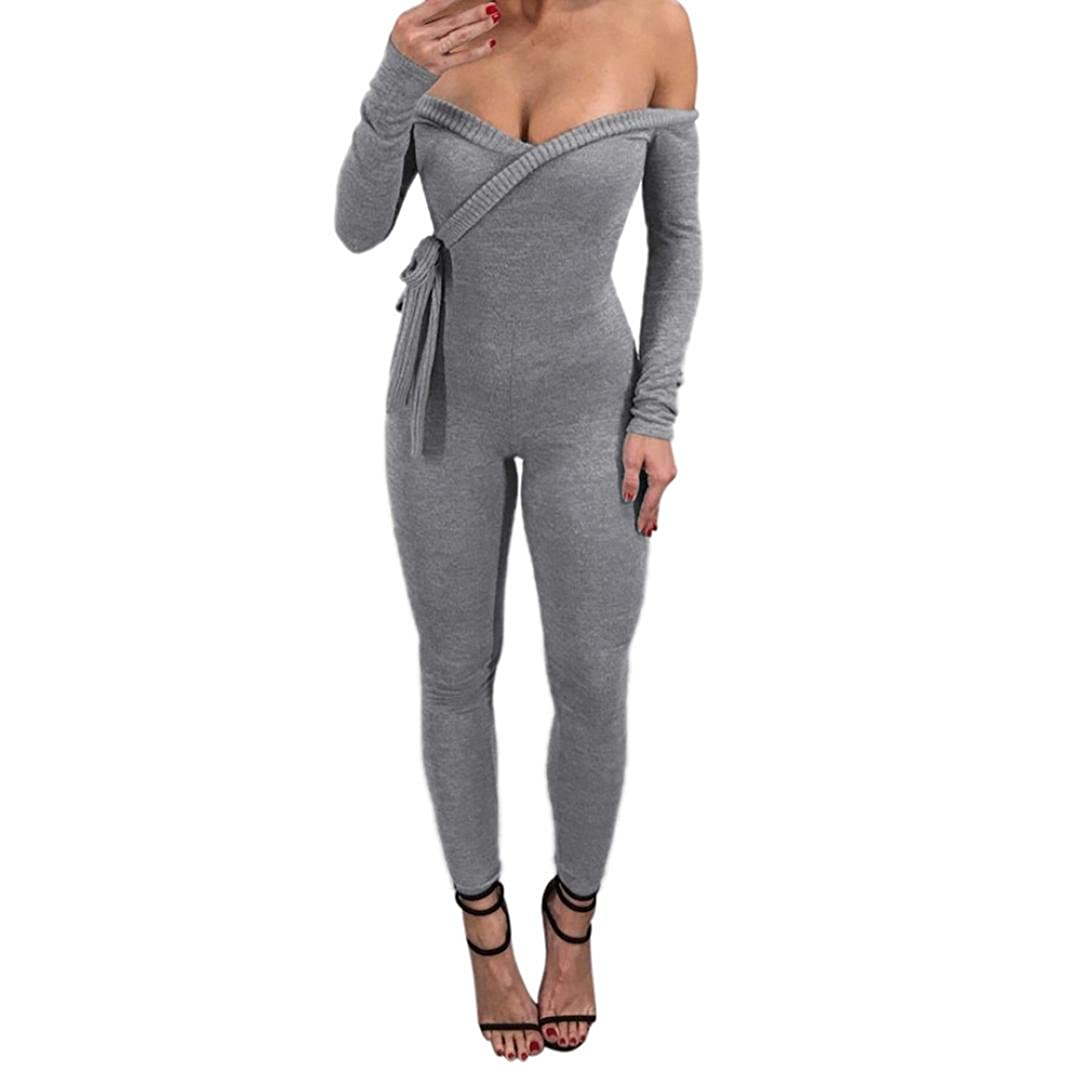 dd4d30a9b37 Amazon.com  Vovotrade Women Long Sleeve Jumpsuit Deep V Off Shoulder  Bodysuit Skinny Playsuit Solid Color Rompers  Clothing