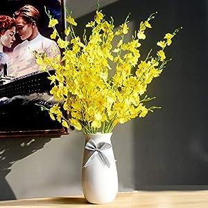 MaxFox Artificial Flowers Long Stem Oncidium Orchid Phalaenopsis Simulation Flowers For Wedding Dinning Decor In Vase 3