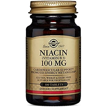 Solgar Niacin Vitamin B3 Tablets, 100 mg, 100 Count