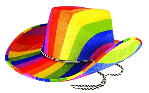 Rimi Hanger Adults Rainbow Cowboy Felt Hat Mens Gay Pride Carnival Fancy Dress Costume Hat One Size