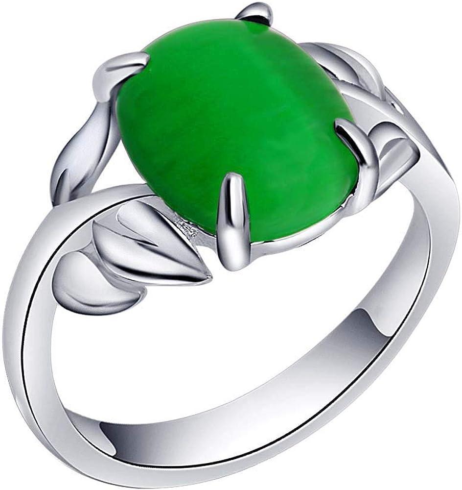 Purmy Anillo Plateado Verde Ágata Exquisito Piedra Diseño