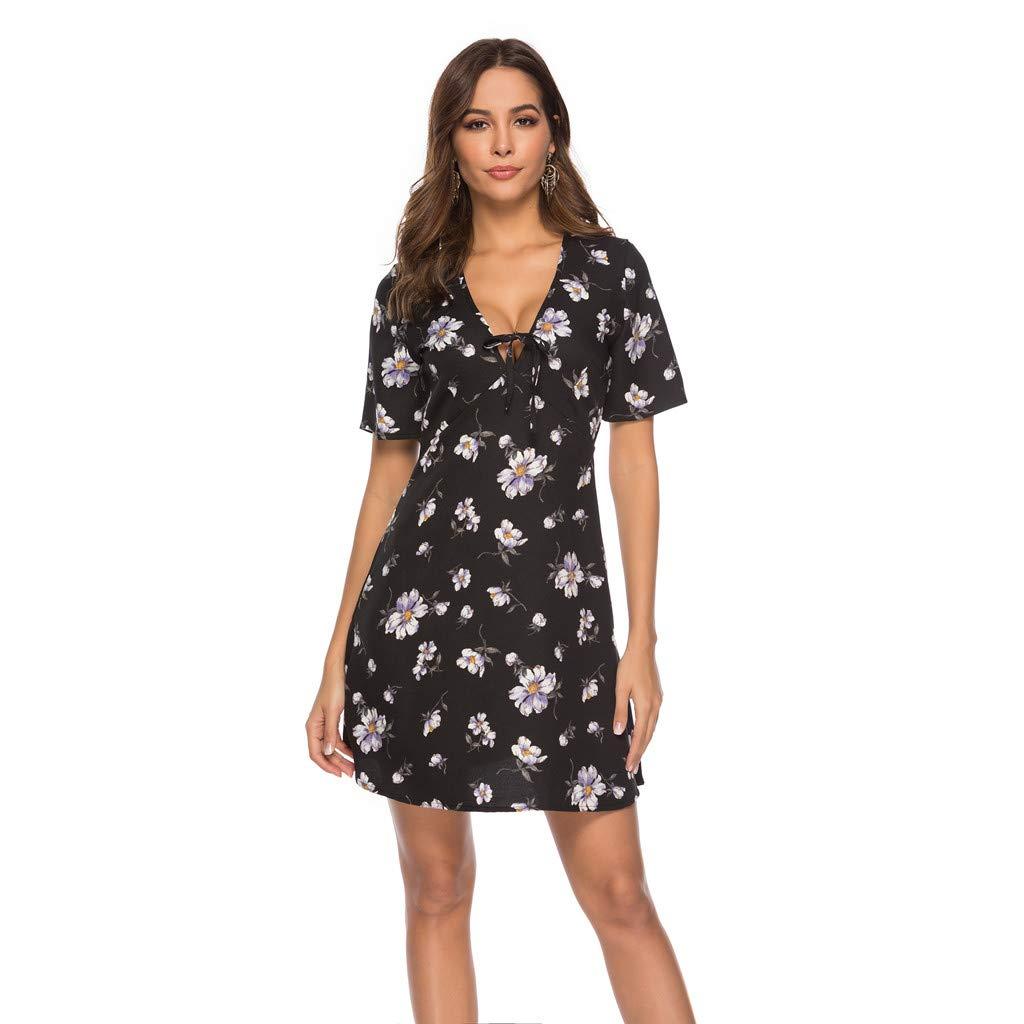 3eccf22ec4e42 GFTA Women's Summer Clothing Fall Fashion Flower Print Women Dress Casual  at Amazon Women's Clothing store:
