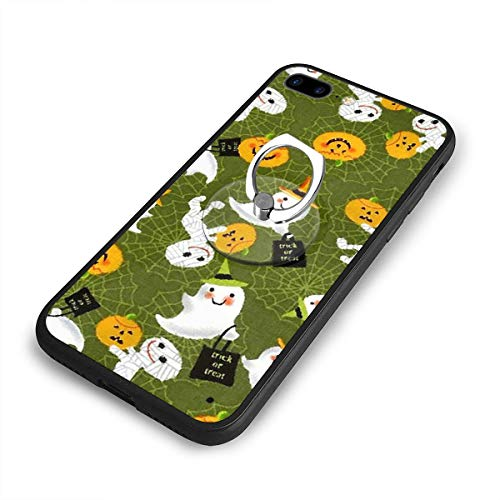 Trick Or Treat Holidays Halloween Phone Case+Finger Ring Set Compatible with iPhone 7/8 Plus Rotation Kickstand Grip -