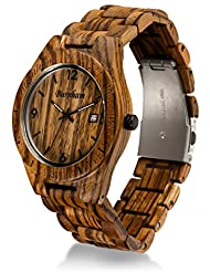 Burnham Wooden Watch - ARG001 Stylish Mens Wood Watches [Solid Natural Wood Grain] Upgraded Swiss Quartz Movement...