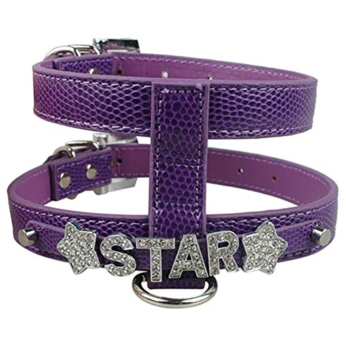 DOILNXH Stlye Personalized Snakeskin Leather Dog Harness Free Name with Rhinestone Letters Purple M - Raised Leather Halter