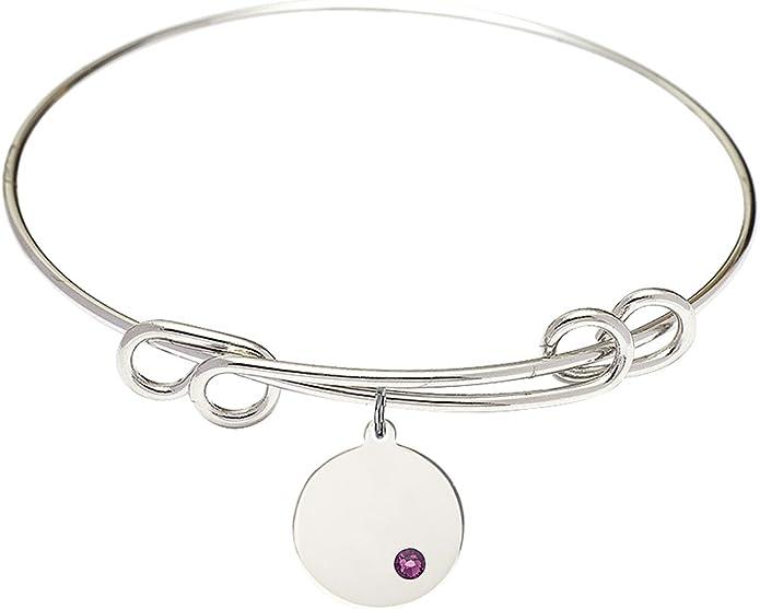 Plain Disc Charm On A 8 1//2 Inch Round Double Loop Bangle Bracelet