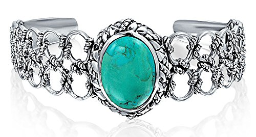 (Southwestern Navajo Style Oval Cabochon Stabilized Turquoise Cuff Bracelet For Women Rope Lattice Link Sterling Silver)