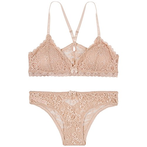 4cbebb0788fcd Urban People Lace Bralette Unlined Plunge Pullover Style X Back Straps  Wireless(Pink Skn