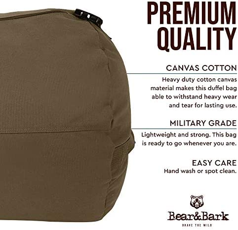 Large Duffle Bag Olive Green 38 x20 – 195.6L – Canvas Military and Army Cargo Style Duffel Tote for Men and Women College Student, Backpacking, Travel and Storage Shoulder Bag