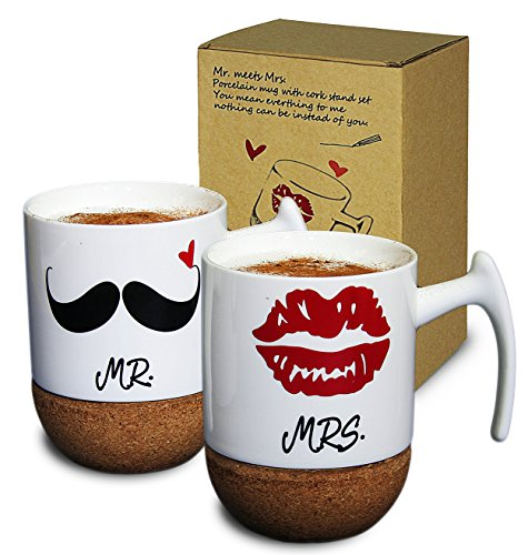 Janazala Mr and Mrs Ceramic Coffee Mugs Set of 2 - Novelty Coffee Tea Cups 9.5 oz with Cork Bottom, Cute Box, For Parents, Anniversary, Mom and Dad, Couples and Lovers