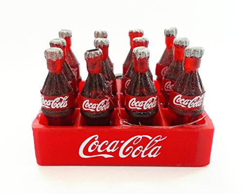 12 Coca Cola Bottles and Tray Dollhouse Miniature Food, Collectibles, Coke, Figure, Gift with magnet