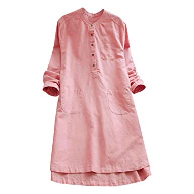 c1946347217 Women Plus Size Retro Cotton Linen Shirt Dress Long Sleeve Button O-Neck  Loose Pockets