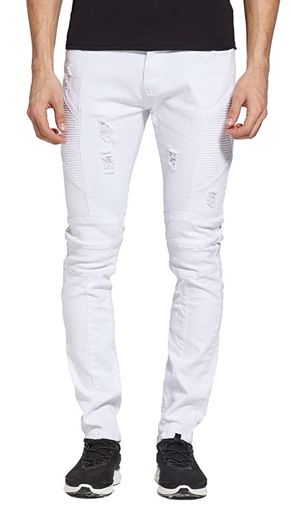GARMOY Mens Fashion White Stretch Moto Distressed Destroyed Skinny Fit Biker Jeans