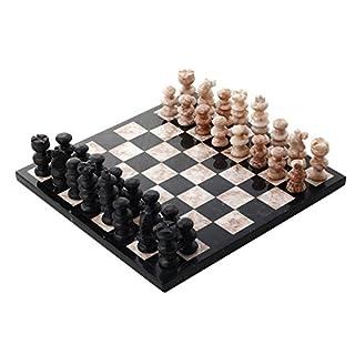 NOVICA Decorative Marble Chess Sets, Black, Glorious Battle'