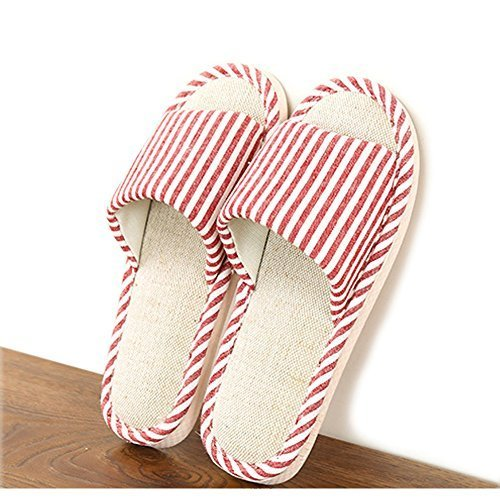 HaloVa Home Slippers, Flax Indoor Shoes Non-Slip Sandals Sole for Men Boys Women Girls Ladies,Pink,8.5-9 by HaloVa (Image #1)
