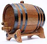 2 Liter Golden Oak Barrel for Whiskey, Wine, Rum, Bourbon, Tequila and Beer - Black Steel Hoops | DIGITAL COPY 30 page Aging Guide | Paper Funnel | No Leaks Guarantee
