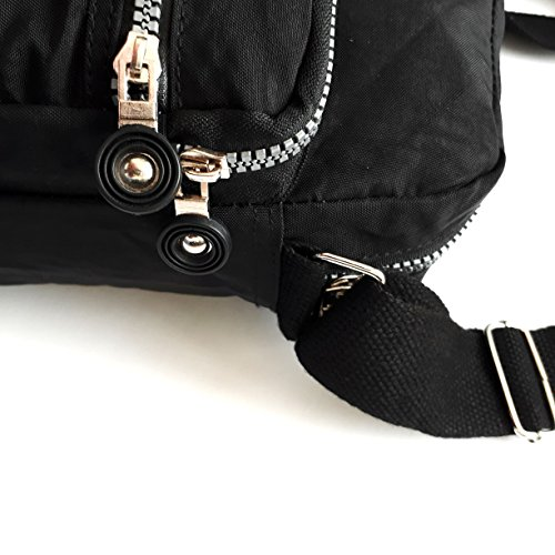 Sac Travel Crossbody and Bag Everyday for Black Pockets Le for Multi Purse Nylon Women f6qdwdBA