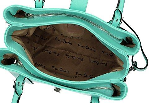 Tasche damen mit schultergurt PIERRE CARDIN grün leder Made in Italy VN1037