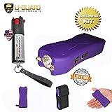 Pocket Taser Pepper Spray Kit (1) High Volt Amp Mini Stun Gun Flashlight (1) Police Strength Pocket Keychain 1/2 oz Tear Gas Best Self Defense Weapons For Women or Men Color (Purple)