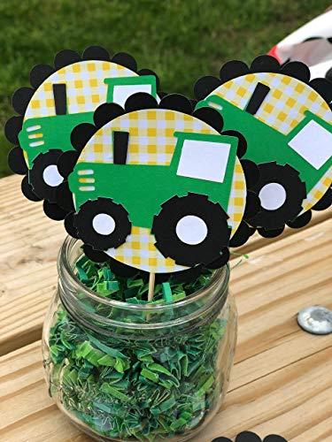 Farm inspired Tractor cupcake toppers set of 12 -