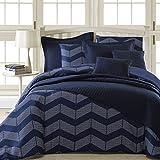 Comfy Bedding Spot Chevron Microfiber 8-Piece Comforter & Coverlet Set (Full 8-piece, Navy Blue)