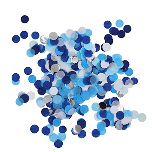 Mybbshower Tissue Paper Party Confetti in Blues White Silver Boys Baby Shower Table Decor 25 mm Pack of 5000 (Blue Silver And White Balloons)