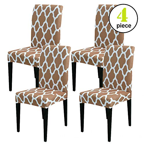 Leanking Knit Spandex Fabric Stretch Removable Washable Dining Room Chair Slipcover Home Decor Set of 4 (E, 4 Pcs)