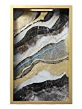 FREELOVE XIUJU Wooden Decorative Serving Trays, Flowing Golden Foil Ink Painting, Glass Inlay, Rectangle (Rock Pattern B)