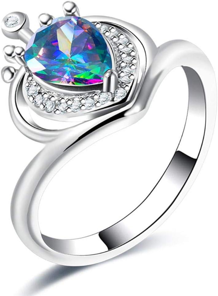 NONO Anillos para Diamantes de imitación de Color Anillo de Corona Forma de Corona Encanto Encantador Anillo de Diamante sintético confiable Mujeres