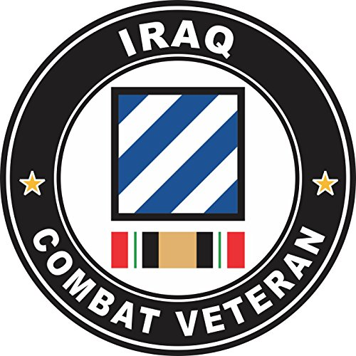 Military Vet Shop US Army 3rd Infantry Division Iraq Combat Veteran Window Bumper Sticker Decal 3.8
