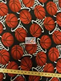 BASKETBALL HOOPS FLEECE FABRIC SOLD BY THE YARD BABY BLANKET