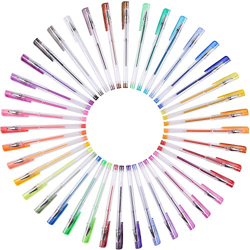 Large Product Image of Shuttle Art 80 Pack Glitter Gel Pens, 40 Colors Glitter Gel Pen Set with 40 Refills for Adult Coloring Books Craft Doodling
